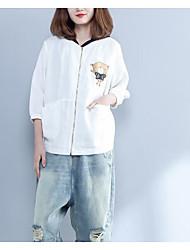 cheap -Women's Vintage Blouse - Solid Colored Blue & White, Tassel
