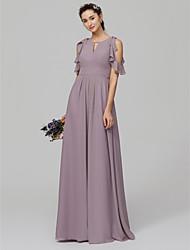 economico -Linea-A Con decorazione gioiello Lungo Chiffon Vestito da damigella con Con balze di LAN TING BRIDE®