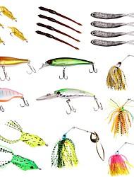 baratos -22pcs pçs Conjuntos de Isco Colheres Iscas Buzzbait & Spinnerbait Isco Suave / Amostras moles Isco Duro Plásticos Metal Pesca de Mar