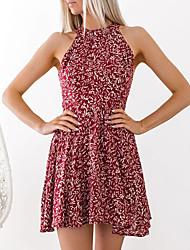 baratos -Mulheres Moda de Rua Bainha Vestido - Frente Única, Floral Mini
