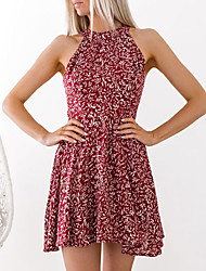 abordables -Mujer Chic de Calle Vaina Vestido - Espalda al Aire, Floral Mini