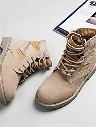 Недорогие -Жен. Обувь Кожа Наступила зима Армейские ботинки Ботинки На плоской подошве Ботинки Хаки