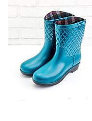 Недорогие -Жен. Кожа ПВХ  Весна лето Резиновые сапоги Ботинки На низком каблуке Кофейный / Красный / Светло-синий