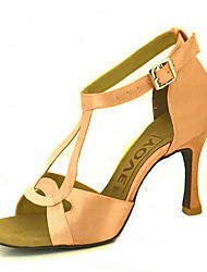 cheap -Women's Latin Shoes / Salsa Shoes Satin / Silk Sandal / Heel Buckle / Ribbon Tie Customized Heel Customizable Dance Shoes Yellow / Fuchsia / Purple / Performance / Leather / Professional