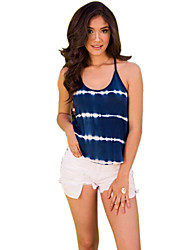 cheap -Women's Daily / Going out Cotton / Polyester / Spandex Tank Top - Striped / Color Block U Neck / Deep U / Summer