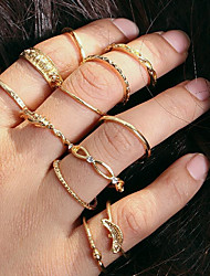 baratos -Empilhável Anéis para Falanges / Conjuntos de anéis / Conjunto de anéis - Liga Simples, Europeu, Fashion 7 Dourado Para Diário