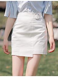 baratos -mulheres saindo acima do joelho uma linha de saias - cintura alta de cor sólida