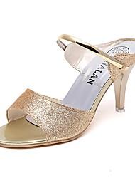 お買い得  -女性用 靴 スパンコール 夏 コンフォートシューズ サンダル スティレットヒール のために オフィス&キャリア ブラック / シルバー / パープル