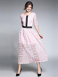 povoljno -Žene Vintage / Ulični šik Swing kroj Haljina - Čipka, Color block Maxi
