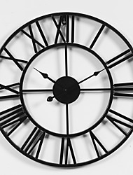 cheap -Rustic Designed in China Rhodium Plated Metal Round Indoor / Outdoor Indoor Outdoor,AA Battery Wall Clock