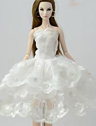 Недорогие -Платья Платья Для Кукла Барби Белый Лён / Хлопок / Полиэфирно-льняная ткань Платье Для Девичий игрушки куклы
