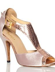 baratos -Mulheres Sapatos de Dança Latina Cetim Têni Flor de Cetim Salto Alto Magro Sapatos de Dança Roxo Escuro / Amêndoa / Ensaio / Prática