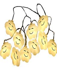 baratos -1.5m Cordões de Luzes 10 LEDs Branco Quente Decorativa Baterias AA alimentadas 1pç