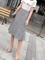cheap -Women's Daily / Going out A Line Skirts - Check