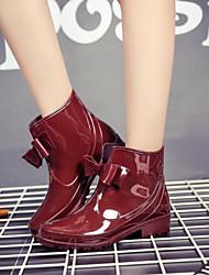Недорогие -Жен. Обувь КожаПВХ Наступила зима Резиновые сапоги Ботинки На низком каблуке Черный / Красный / Хаки