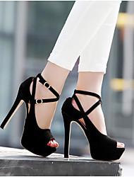 cheap -Women's Shoes PU Summer Basic Pump Heels Stiletto Heel Peep Toe for Party & Evening Black / Pink