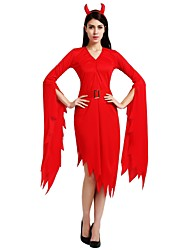 cheap -Witch Outfits Unisex Halloween Day of the Dead Masquerade Festival / Holiday Halloween Costumes Red Solid Colored Halloween Halloween