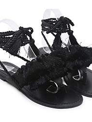Недорогие -Жен. Обувь Искусственное волокно Лето Удобная обувь Сандалии На плоской подошве Черный / Шнуровка