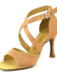 cheap -Women's Latin Shoes / Ballroom Shoes / Salsa Shoes Satin Sandal Buckle Customized Heel Customizable Dance Shoes Yellow / Fuchsia / Purple