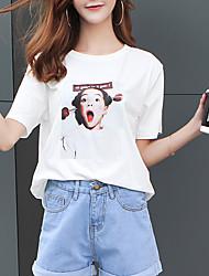 baratos -Mulheres Camiseta Retrato Algodão