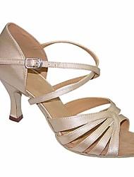 cheap -Women's Latin Shoes Silk Heel Stiletto Heel Dance Shoes Beige / Performance / Leather / Practice