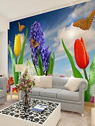 Недорогие -Пользовательские цветок бабочка большие настенные покрытия настенные обои, подходящие для офиса спальня ресторан цветок