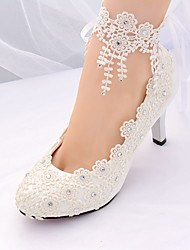 cheap -Women's Shoes Lace Spring & Summer Basic Pump / Ankle Strap Wedding Shoes Stiletto Heel Pointed Toe Rhinestone / Tassel White