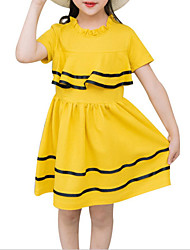 baratos -Infantil Para Meninas Sólido Manga Curta Vestido