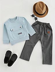 abordables -Ensemble de Vêtements Garçon Quotidien Couleur Pleine Coton Printemps Automne Manches Longues Noir Gris Rouge Vert clair