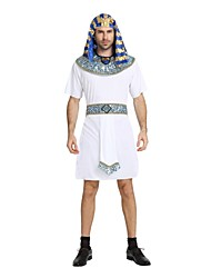 cheap -Egyptian Costume Costume Men's Halloween Carnival New Year Festival / Holiday Halloween Costumes Outfits White Solid Colored Striped Halloween Halloween