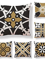 cheap -6 pcs Textile / Cotton / Linen Pillow case, Geometric / Art Deco / Printing Square Shaped / Modern