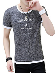 cheap -Men's Sports Street chic Cotton T-shirt - Letter Print Round Neck / Short Sleeve