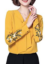 Недорогие -Жен. Вышивка Блуза Классический Цветочный принт