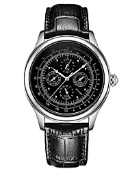 baratos -Homens relógio mecânico Chinês Calendário / Fase da lua Aço Inoxidável / Couro Banda Luxo / Vintage Preta / Marrom