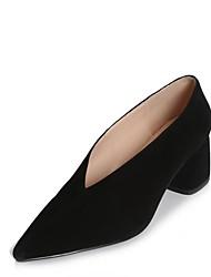 preiswerte -Damen Schuhe Leder Herbst Winter Pumps High Heels Blockabsatz Spitze Zehe Schwarz / Grau / Mandelfarben