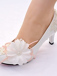 cheap -Women's Shoes Lace / Leatherette Spring & Summer Slingback / Basic Pump Wedding Shoes Stiletto Heel Round Toe Imitation Pearl / Satin