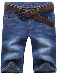cheap -Men's Plus Size Cotton / Polyester Slim Jeans / Shorts Pants - Solid Colored / Weekend