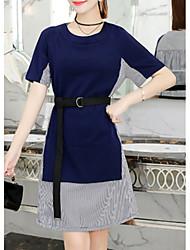 povoljno -Žene Osnovni Korice Haljina - Kolaž, Color block Do koljena