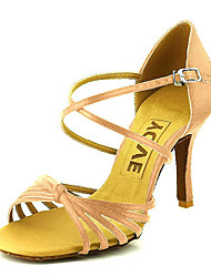 cheap -Women's Latin Shoes / Salsa Shoes Satin / Silk Sandal / Heel Buckle / Ribbon Tie Customized Heel Customizable Dance Shoes Bronze / Almond / Nude / Performance / Leather / Professional