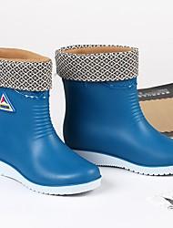 Недорогие -Жен. Обувь ПВХ Наступила зима Резиновые сапоги Ботинки На плоской подошве Сапоги до середины икры Красный / Синий / Хаки