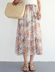 baratos -saias de linha midi uma mulher - floral