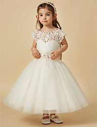 cheap -A-Line Knee Length Flower Girl Dress - Lace Satin Tulle Sleeveless Scoop Neck with Beading Bow(s) Sash / Ribbon by LAN TING Express