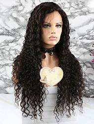 baratos -Cabelo Remy Peruca Cabelo Brasileiro Encaracolado Corte em Camadas 130% Densidade Com Baby Hair Natural Curto / Longo / Comprimento médio
