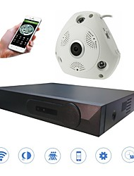 cheap -STRONGSHINE  3.0MP  Infrared Night Vision VR Panoramic IP Camera Security NVR Kits(Support a Variety of  Image Segmentation)