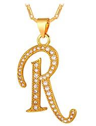 Недорогие -Муж. Цирконий Ожерелья с подвесками  -  Буквы Мода Золотой, Серебряный 55 cm Ожерелье Назначение Подарок, Повседневные