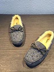 abordables -Mujer Zapatos Ante / Piel de Oveja Invierno Confort Zapatos de taco bajo y Slip-On Tacón Plano Gris / Amarillo / Rojo