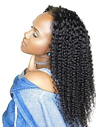 cheap -Remy Human Hair Full Lace Wig Brazilian Hair Curly Layered Haircut 130% Density With Baby Hair / For Black Women Black Women's Short / Long / Mid Length Human Hair Lace Wig