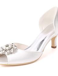 baratos -Mulheres Sapatos Cetim Primavera Verão Plataforma Básica Sapatos De Casamento Salto Agulha Peep Toe Pedrarias / Pérolas Sintéticas