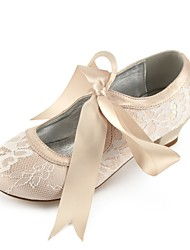 cheap -Girls' Shoes Lace Spring Comfort / Ballerina / Ankle Strap Heels Bowknot / Buckle / Lace-up for Kids Silver / Champagne / Ivory