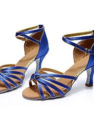 cheap -Women's Latin Shoes Satin Sandal / Heel Splicing Customized Heel Customizable Dance Shoes Blue / Indoor